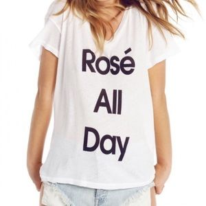 Wildfox Rosé All Day White Graphic Tee